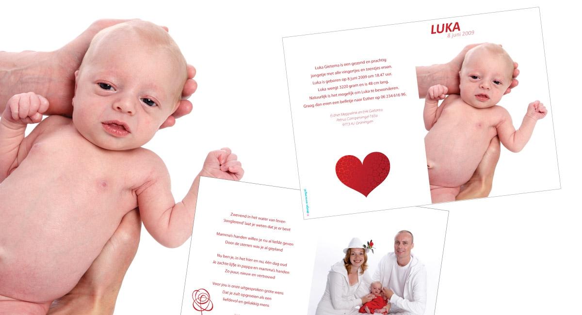 Geboortekaartje luka seg reclame ontwerp en fotografie in groningen